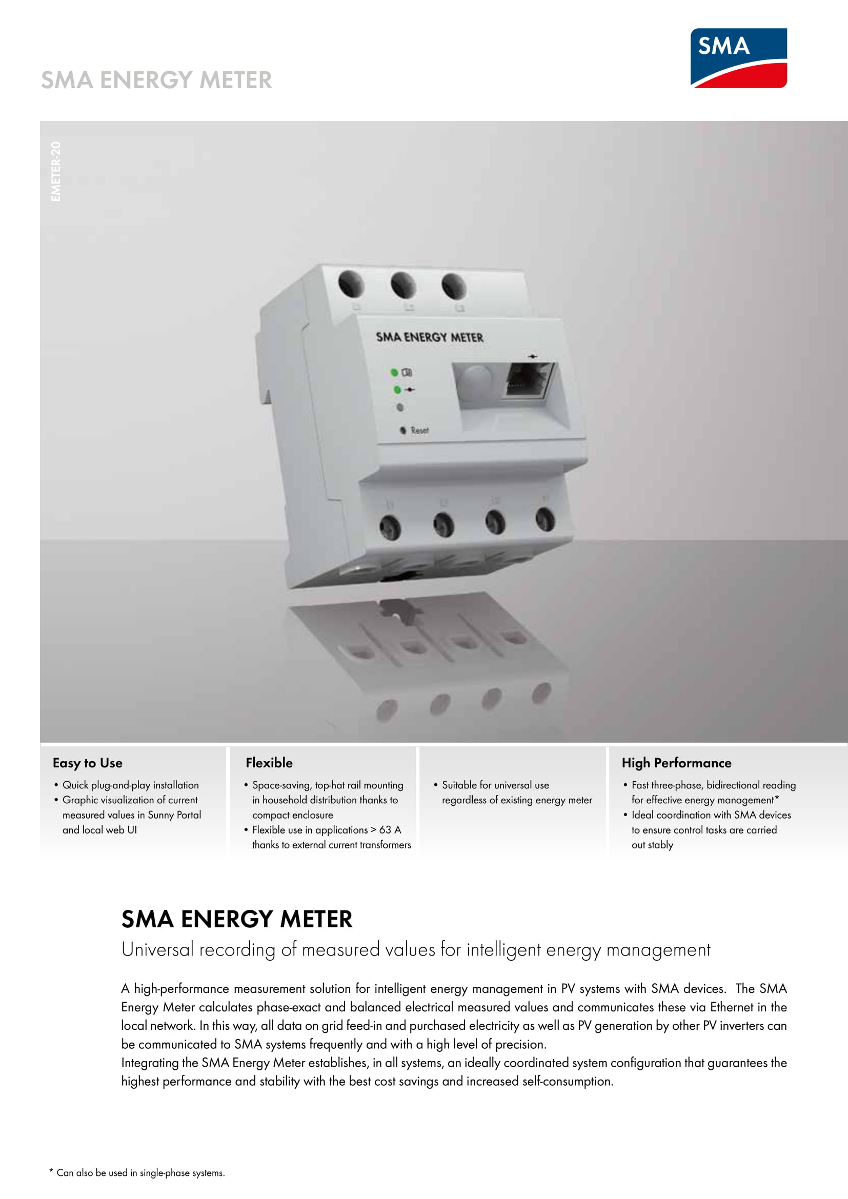 contatore sma energy meter emeter 10 per fotovoltaico 643845099435 ebay. Black Bedroom Furniture Sets. Home Design Ideas